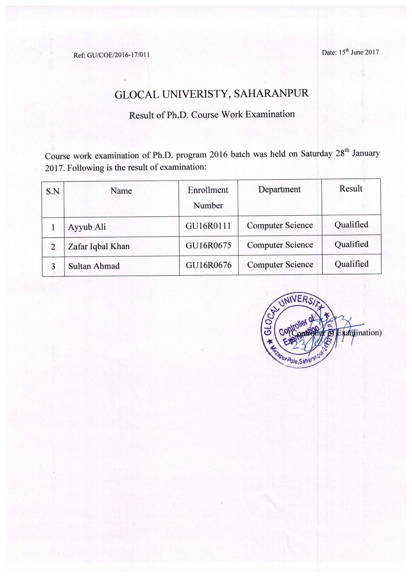 phd coursework result 2013 (revised dates)important information regarding registration for phd( course work  list of selected candidates for pre-phd course work (2014-15) .