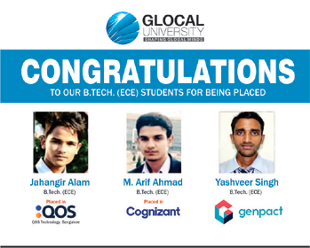 Glocal University Electronics and Communication Department Students Selected In Multinational Company