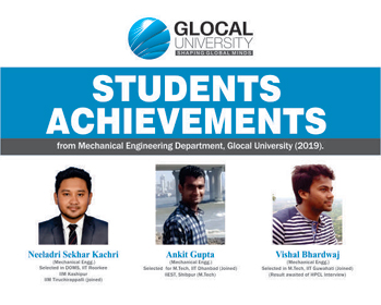 Students Achievements from Mechanical Engineering Department, The Glocal University 2019