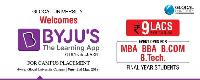 BYJU'S The Learning App campus placement scheduled on May 2nd, 2018